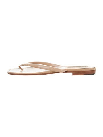 Manolo Blahnik Patent Leather Thong Sandals None