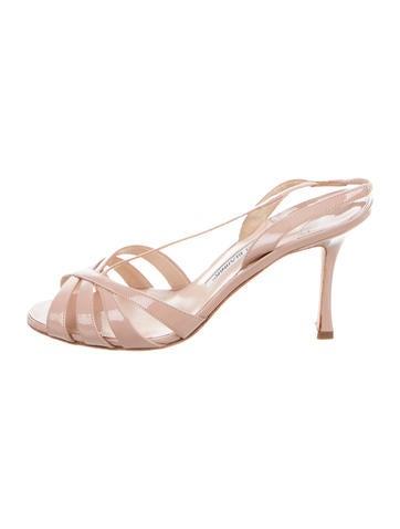 Manolo Blahnik Patent Leather Slingback Sandals None