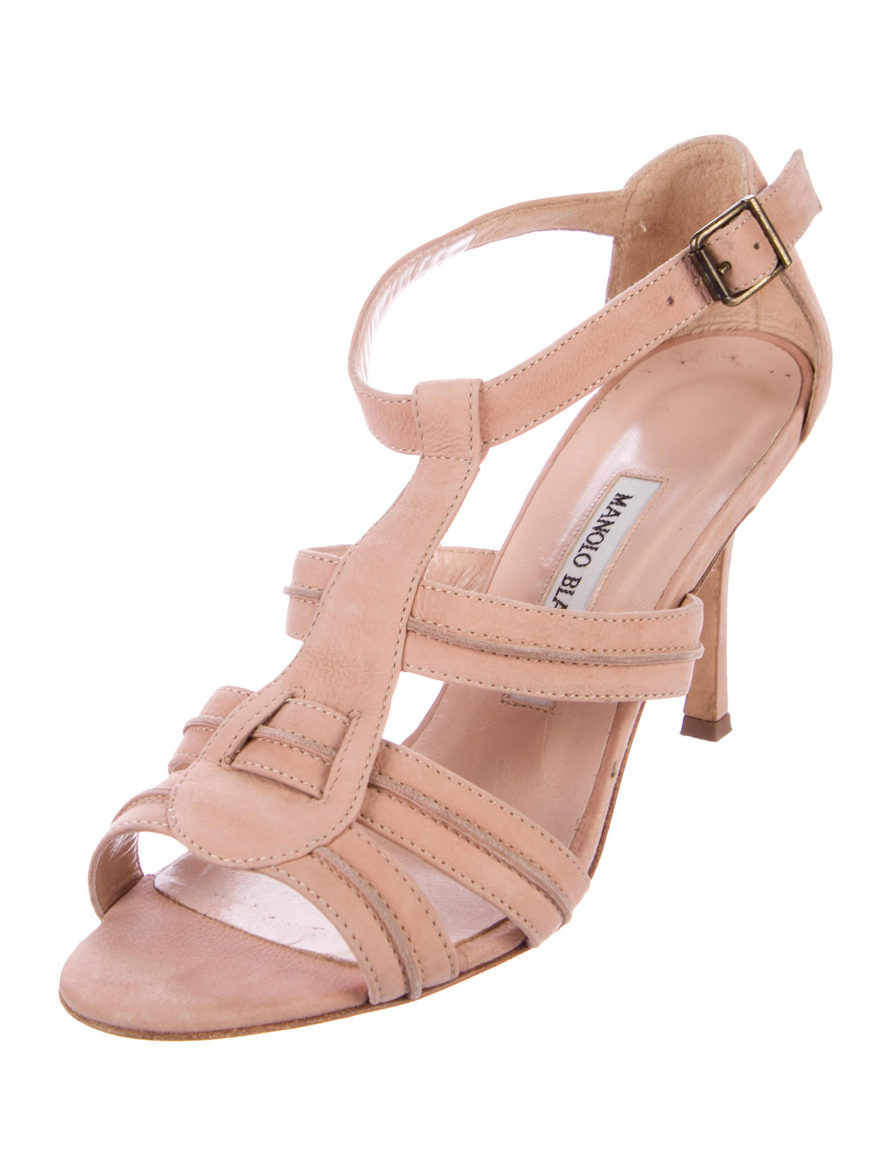 3b37b7d554b Manolo Blahnik Suede T-Strap Sandals - Shoes - MOO76472 .
