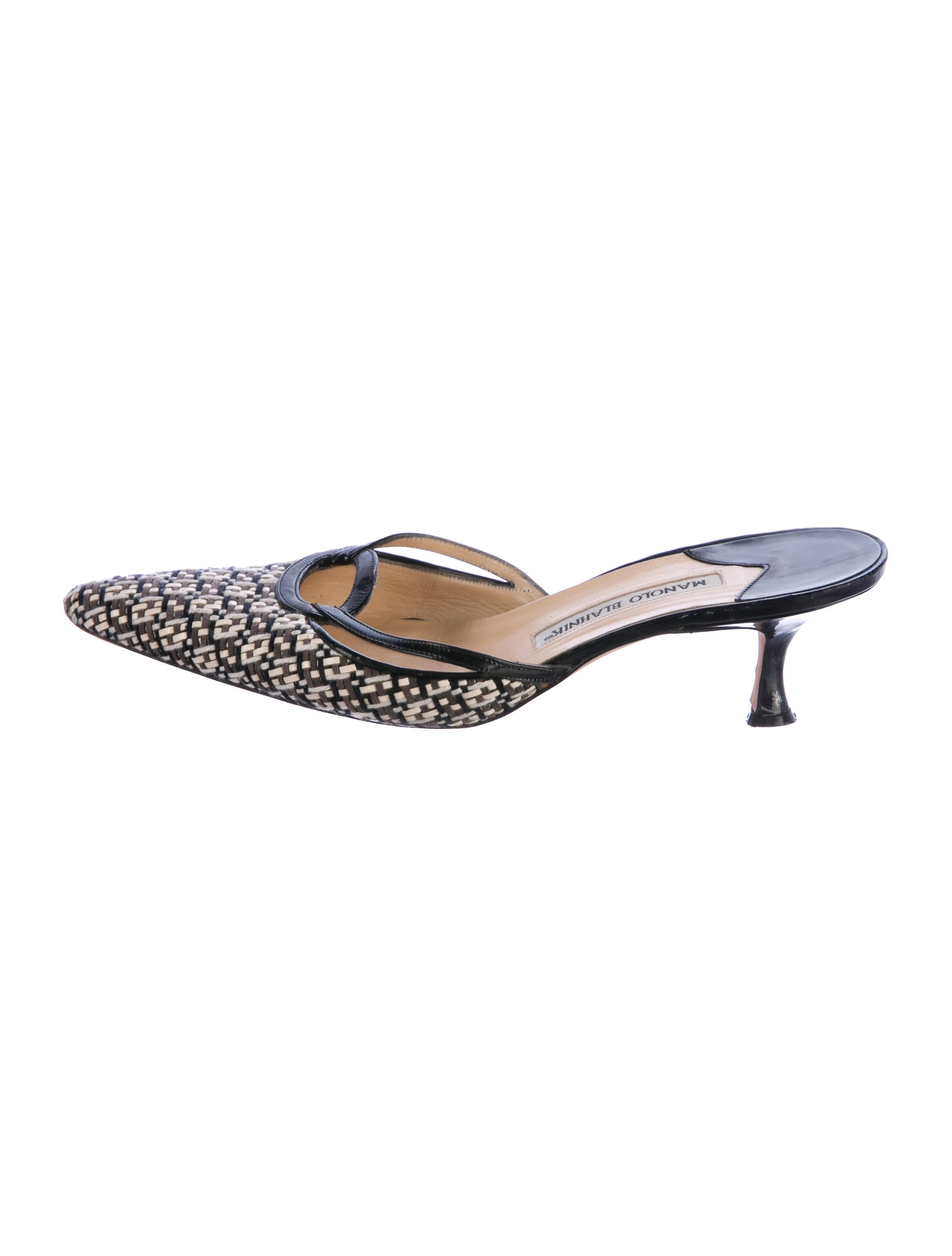 outlet deals Manolo Blahnik Woven Leather Mules discount supply PfPzoyzQ9