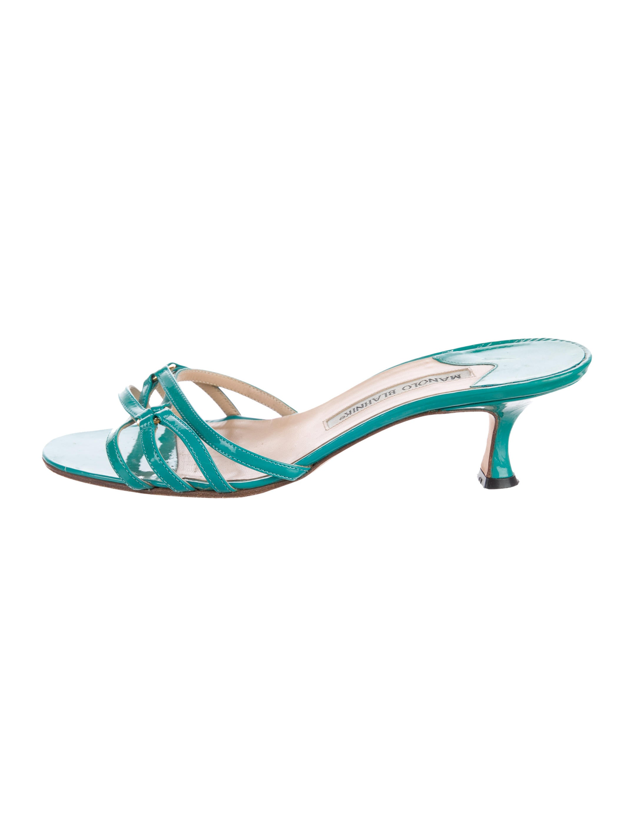 low price fee shipping official site cheap online Manolo Blahnik Annamu Patent Leather Slide Sandals for nice online extremely cheap price A3RDfA3v