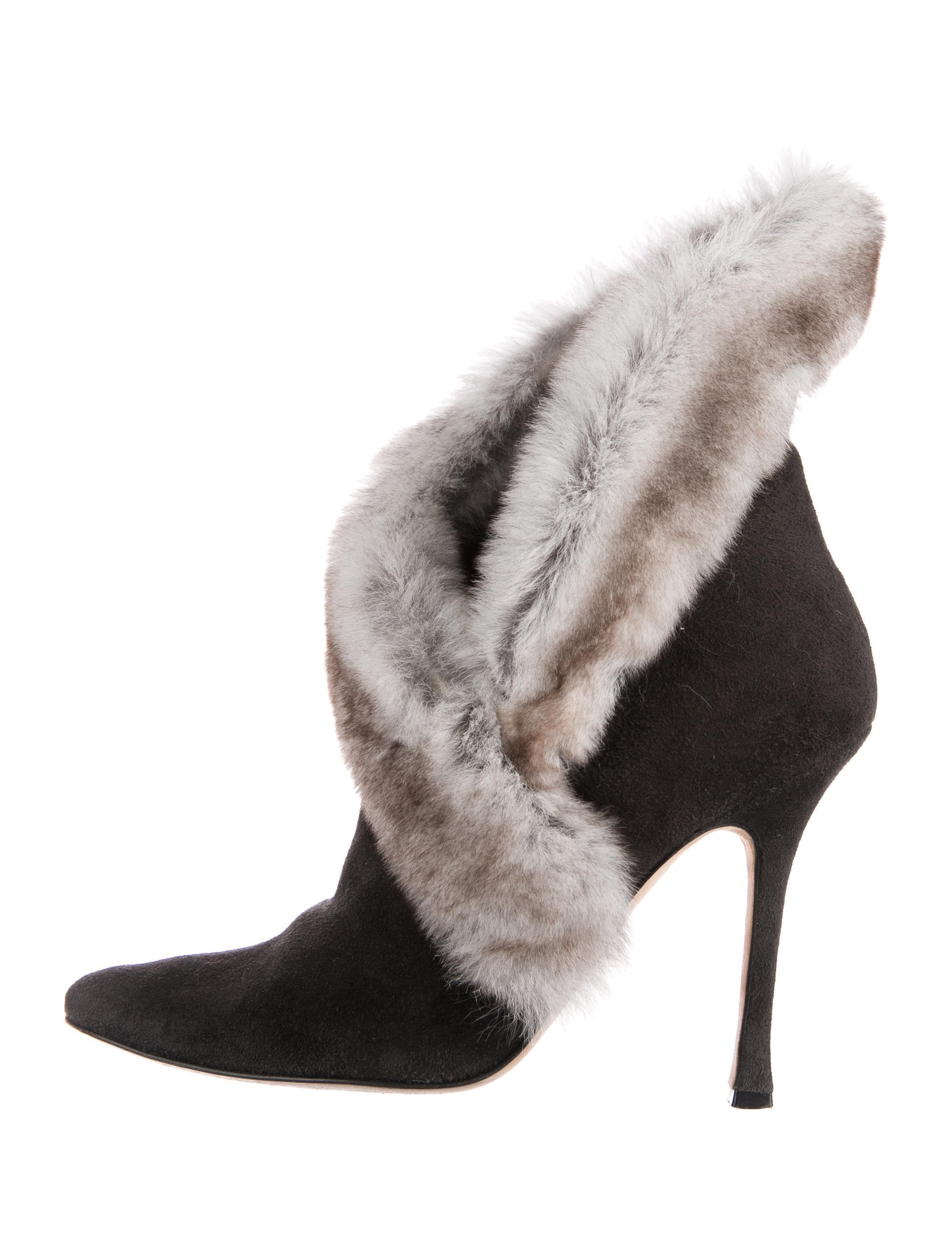 Manolo Blahnik Fur-Trimmed Suede Booties w/ Tags extremely lowest price cheap online discount clearance czAmrhj