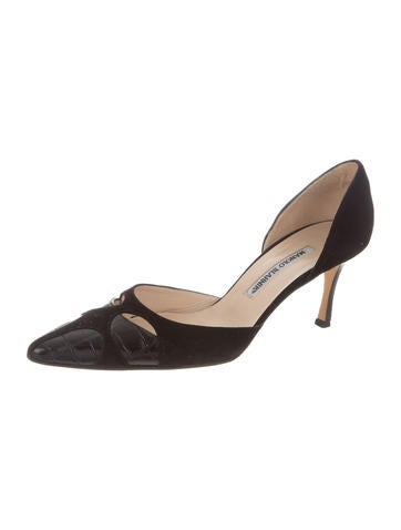 Manolo Blahnik Crocodile-Trimmed Suede Pumps footlocker finishline online cheap visit best wholesale cheap online sale visa payment PU3phxuQ
