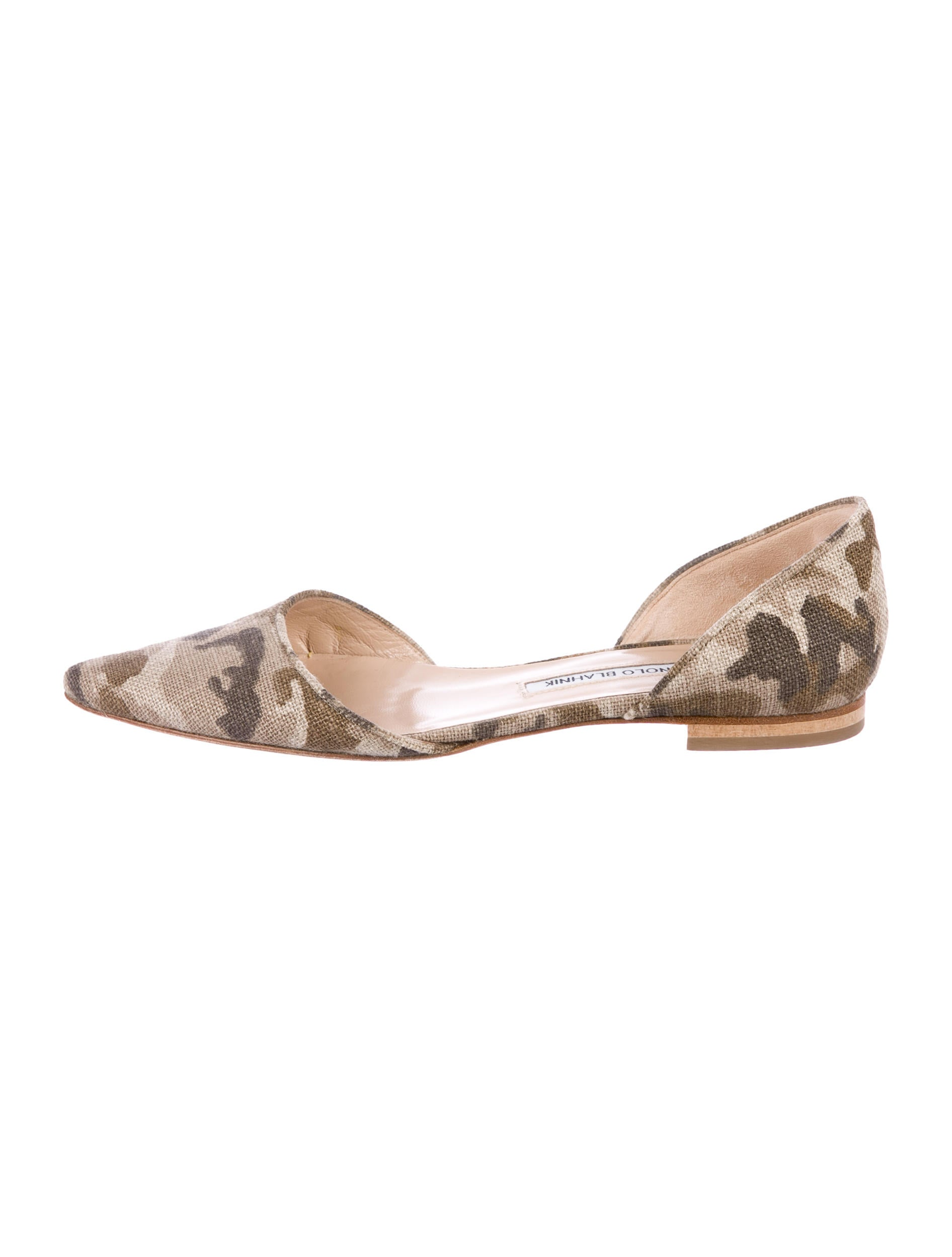 Manolo Blahnik Camouflage d'Orsay Flats visit new online manchester great sale cheap online buy cheap order clearance for cheap Oy88S6la
