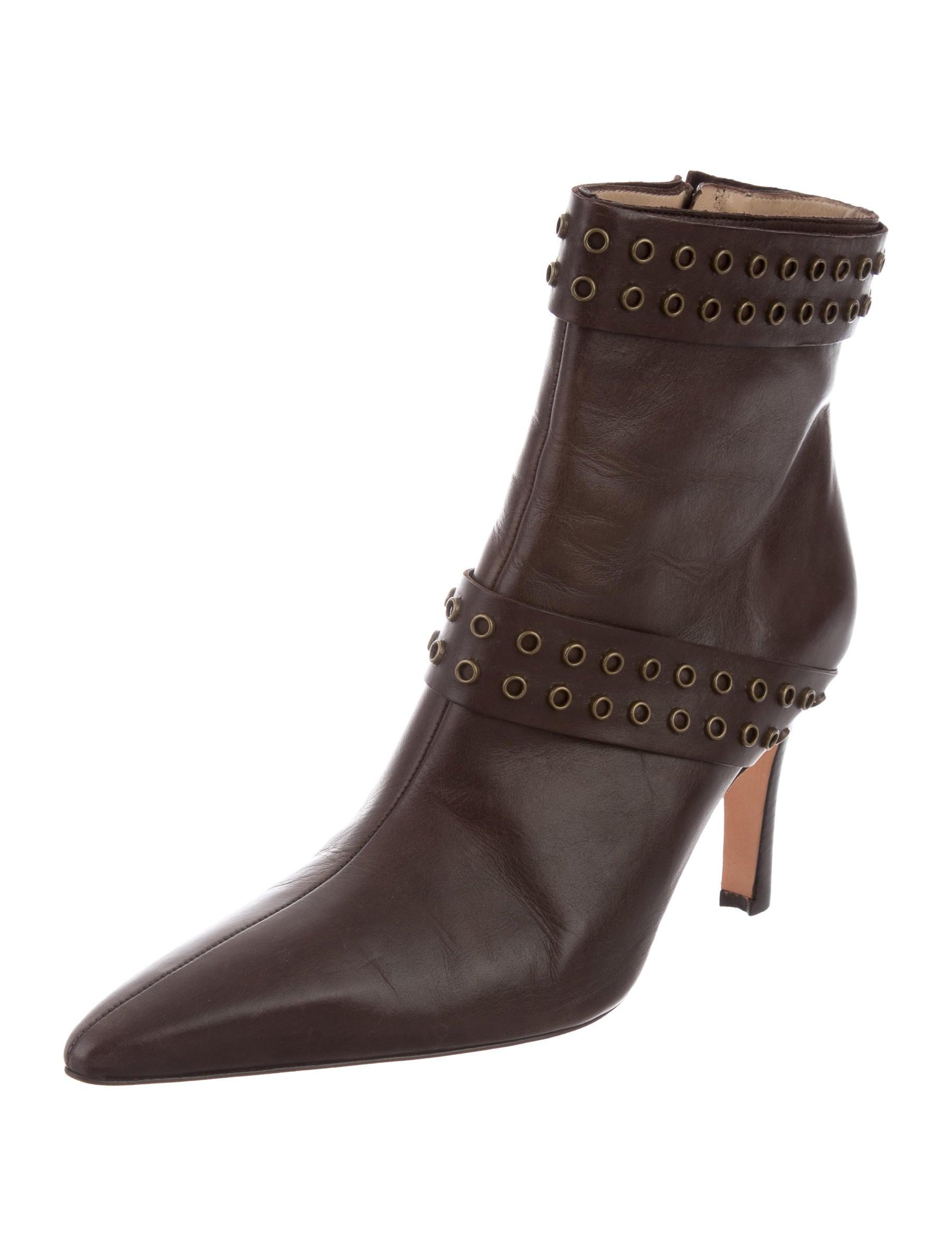 pre order sale online Manolo Blahnik Leather Grommet Booties eastbay best store to get PA0XXpdcA