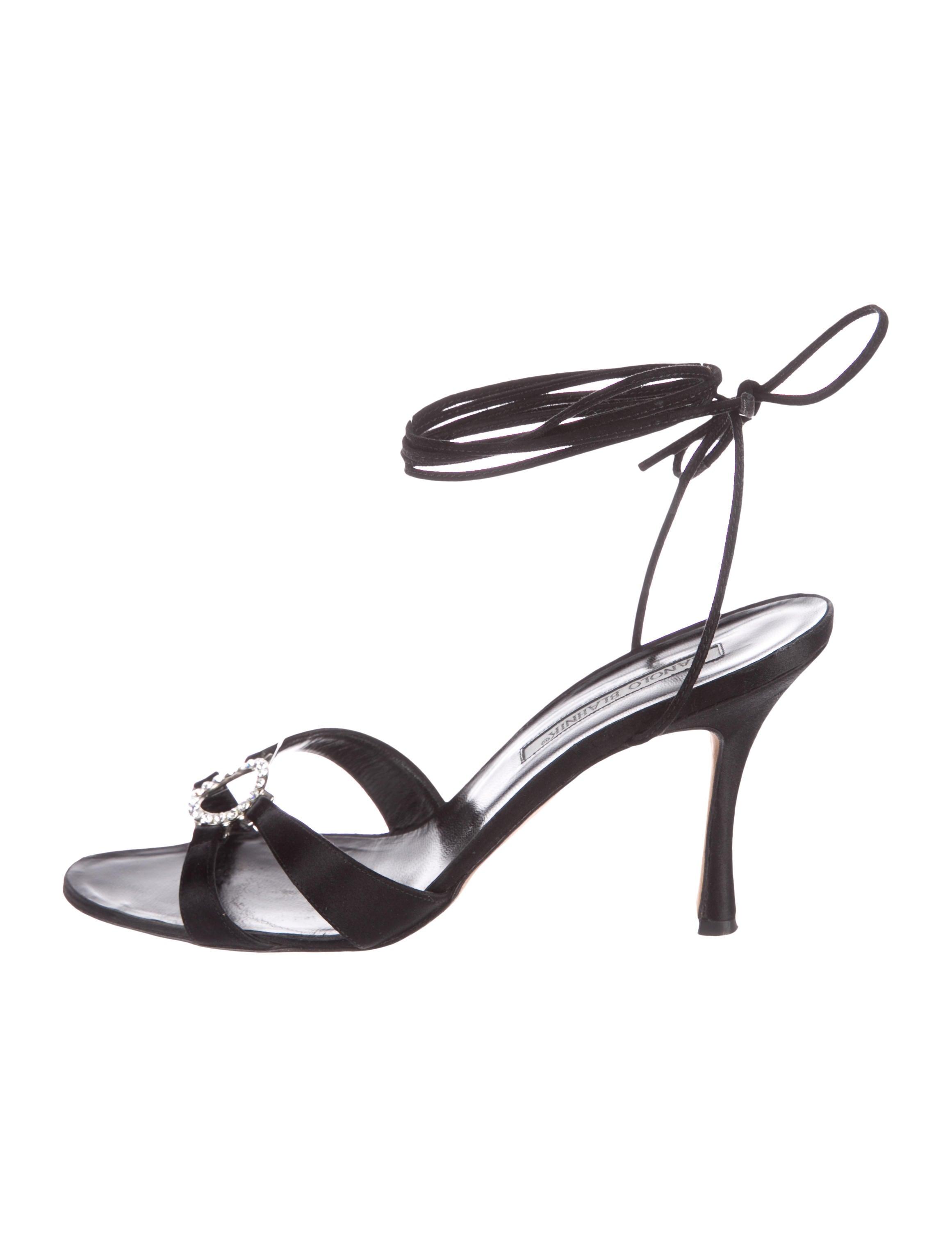 Manolo Blahnik Satin Wrap-Around Sandals cheap sale geniue stockist pDKp3odo