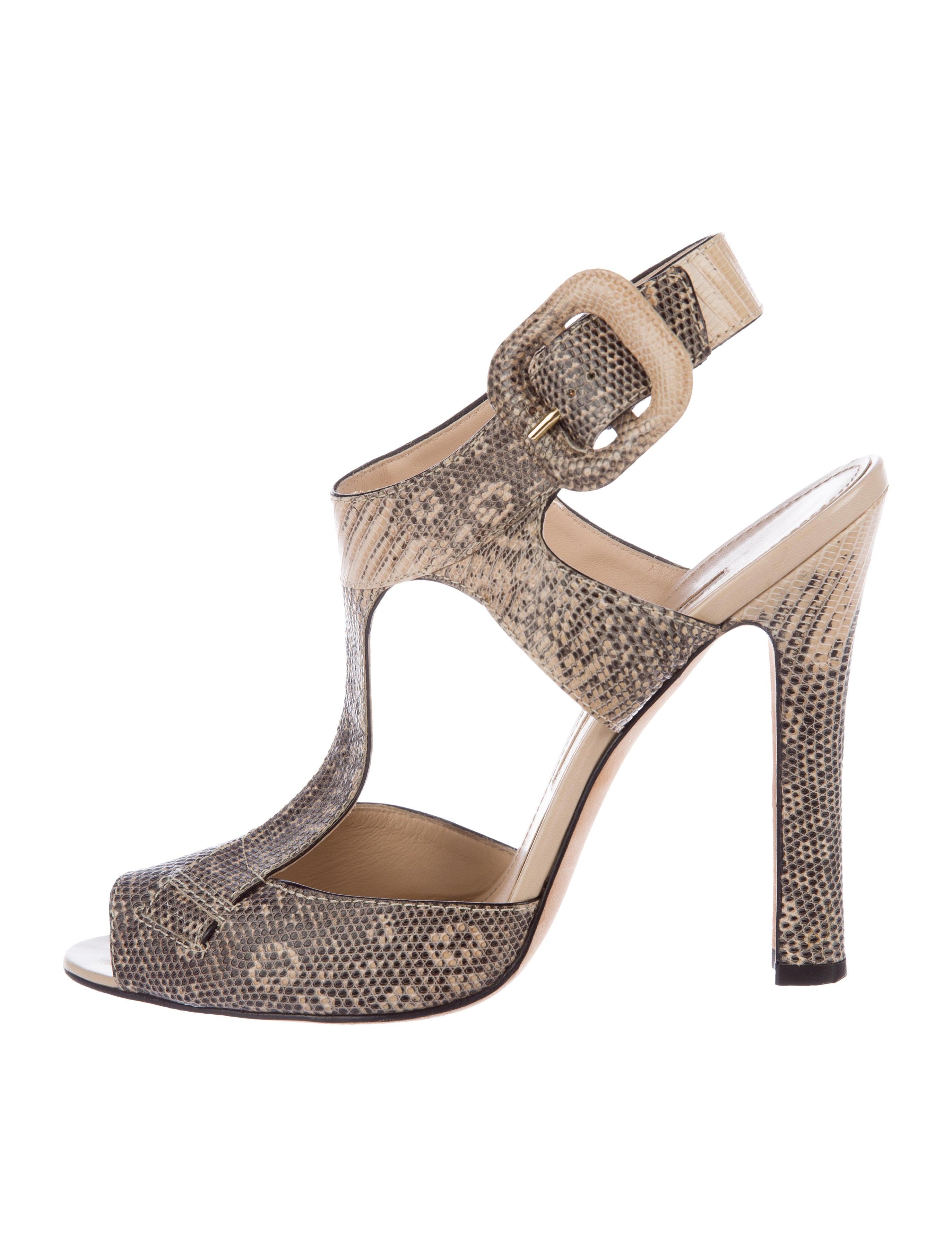 Manolo Blahnik Lizard T-Strap Sandals buy cheap prices dE6gL4