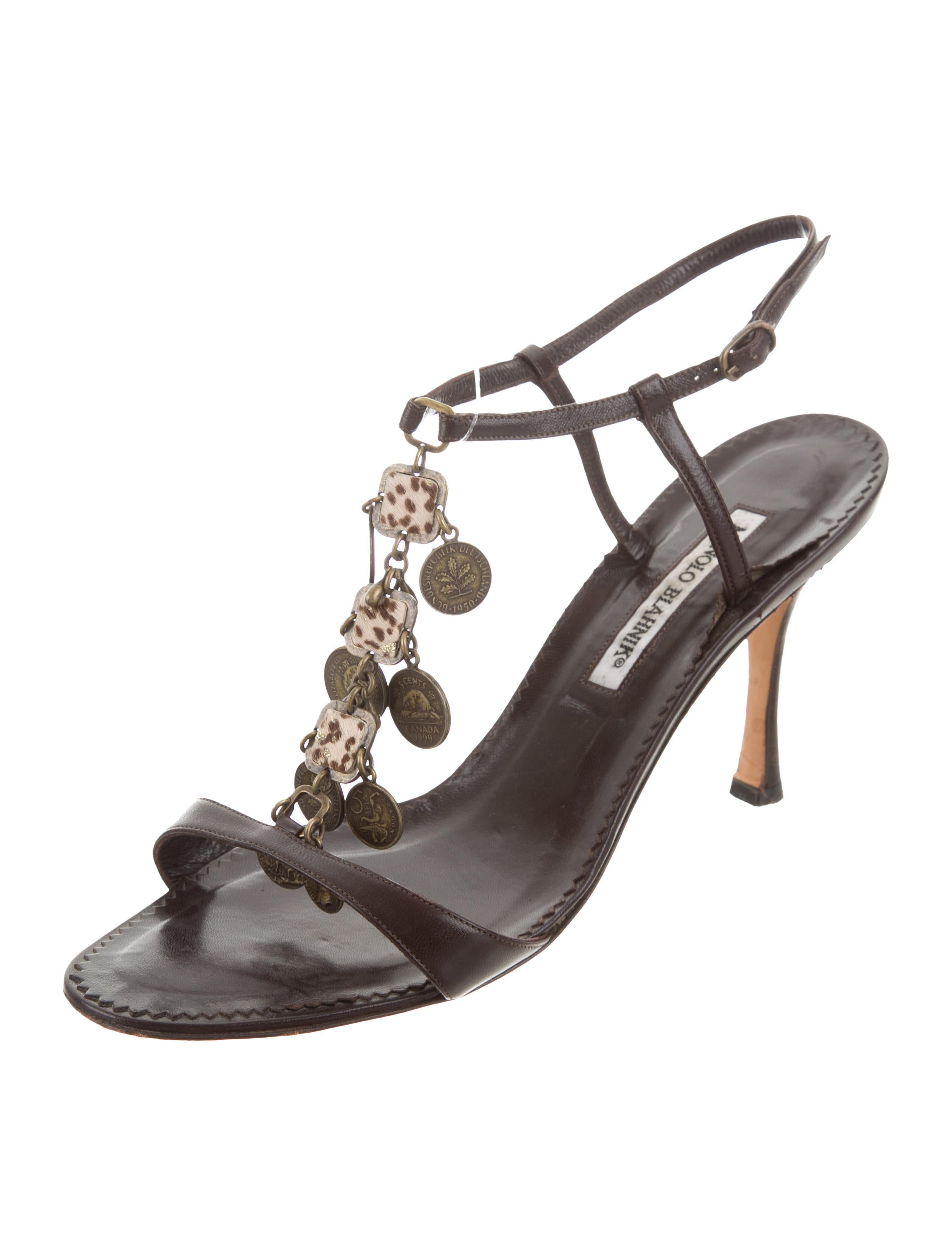 clearance Cheapest Manolo Blahnik Leather Coin-Embellished Sandals discount looking for 2maC1Y4h