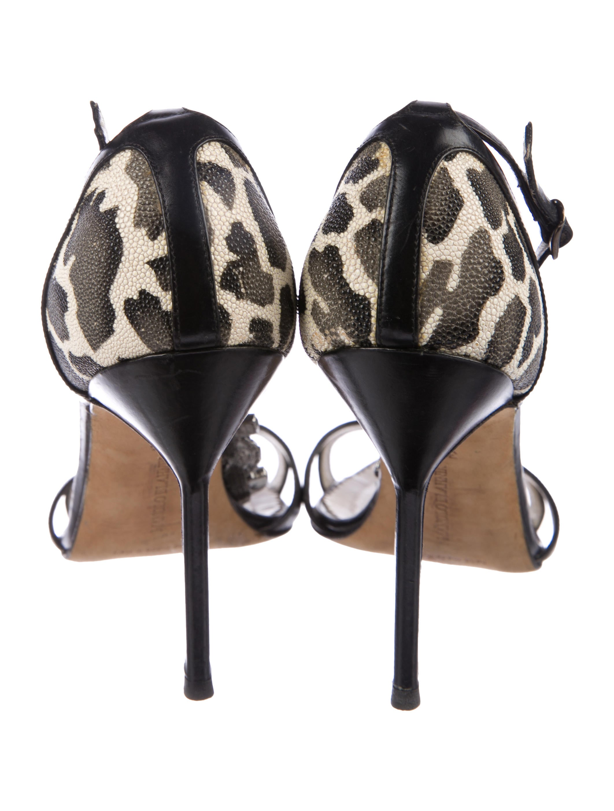 Manolo Blahnik Stingray-Trimmed Embellished Sandals 2014 unisex cheap online cheap pay with paypal 2HN0DANvDQ