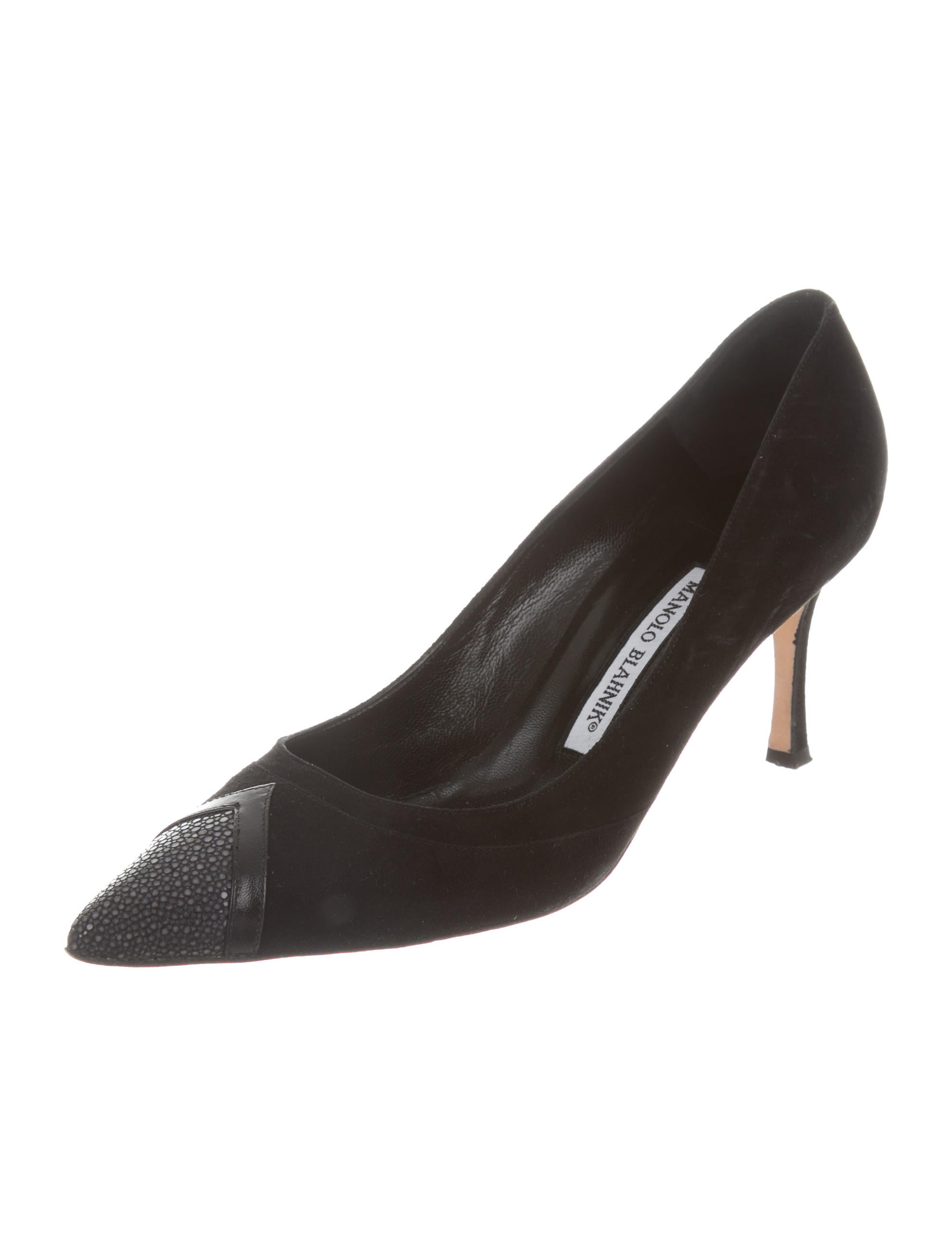 Manolo Blahnik Stingray-Trimmed Pointed-Toe Pumps discount largest supplier AlolA