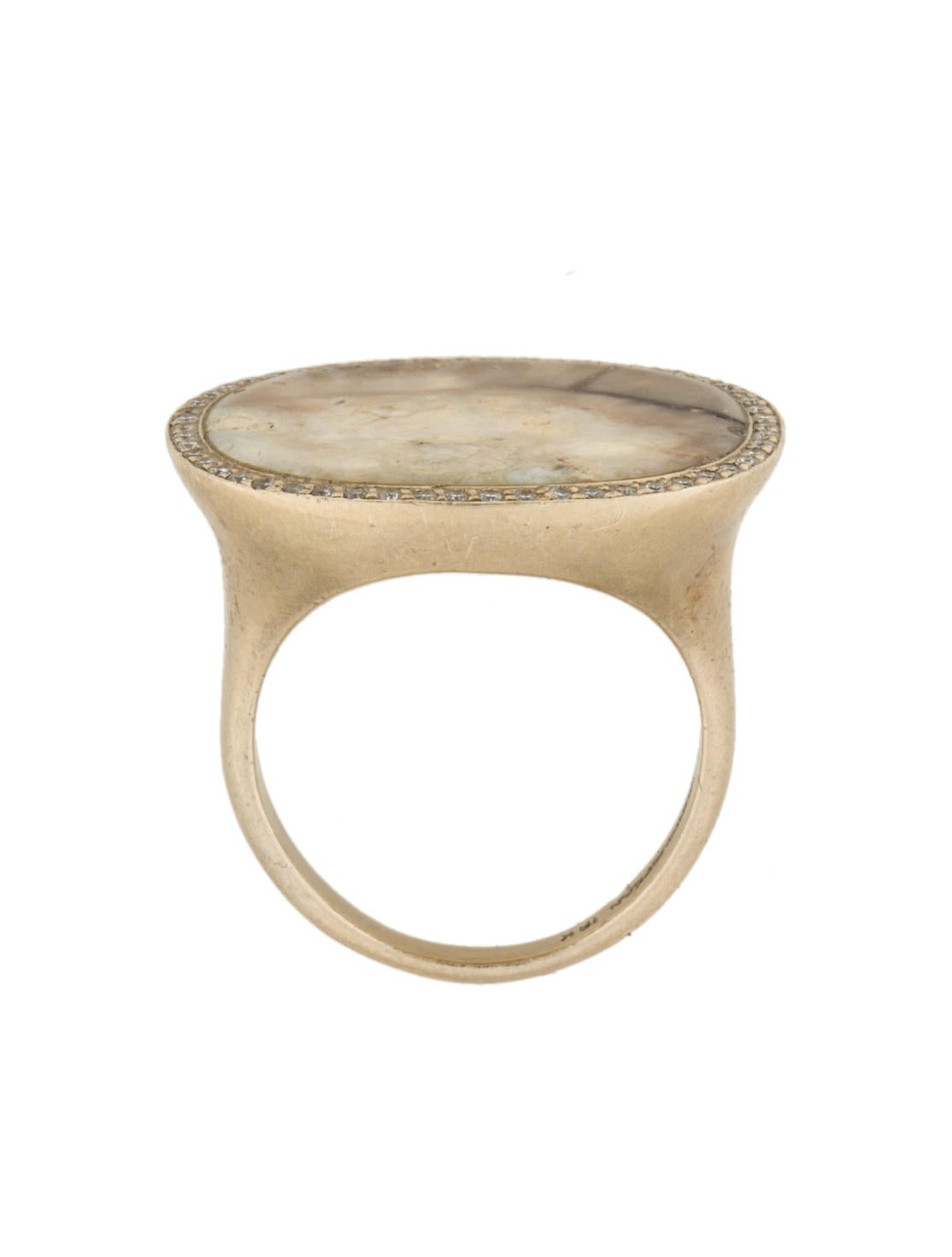 Fossilized Ivory And Diamond Ring
