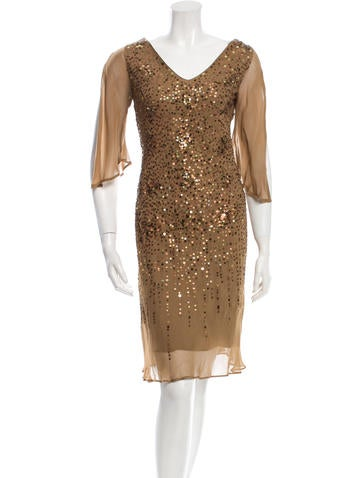 Moschino Sequined Embellished Silk Dress