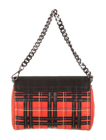Suede & Leather Plaid Handle Bag