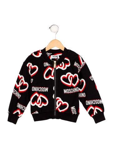 Moschino Boys' Heart Print Bomber Jacket None