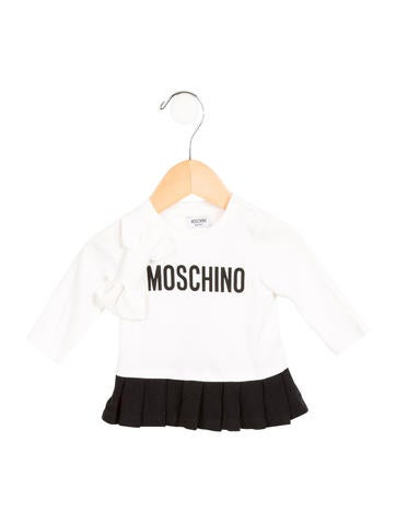Moschino Girls' Bow-Accented Pleated Top None