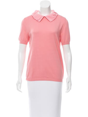 Moschino Silk-Trimmed Short Sleeve Top None