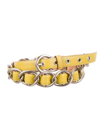Chain-Link Leather Belt
