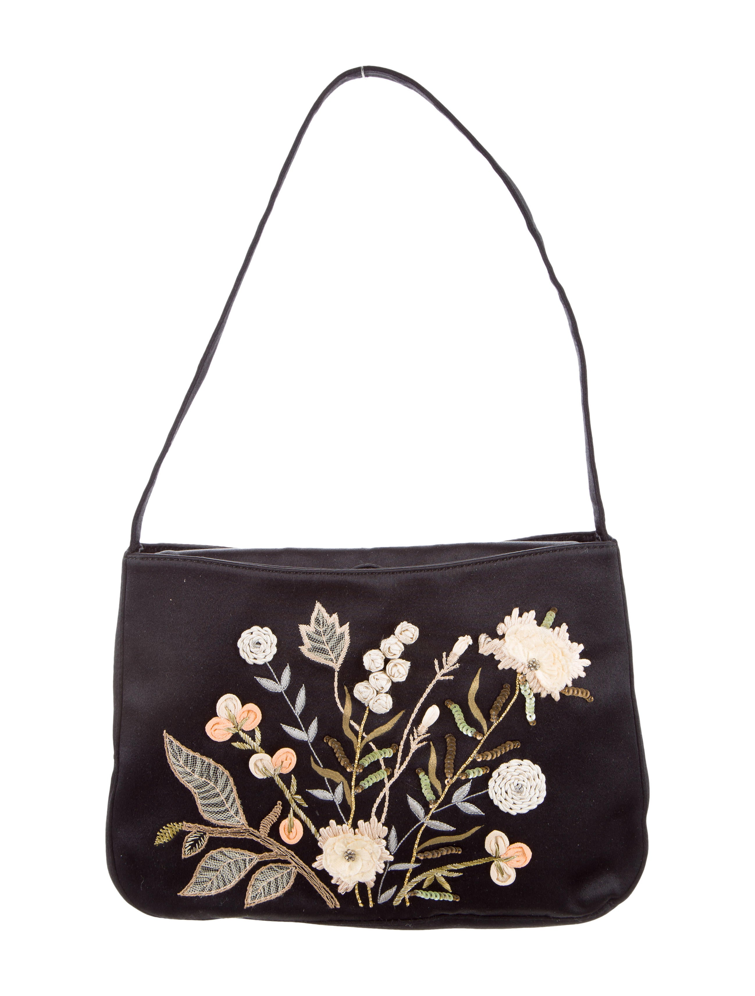 Moschino Vintage Hand Embroidered And Painted Satin Bag