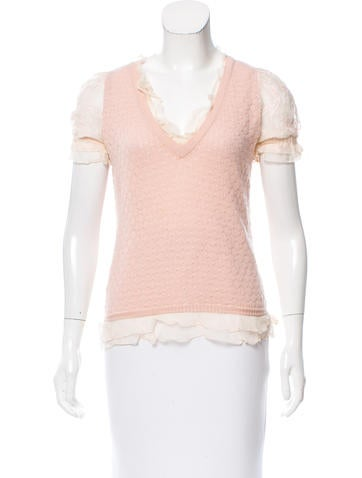 Moschino Silk-Accented Wool Top None