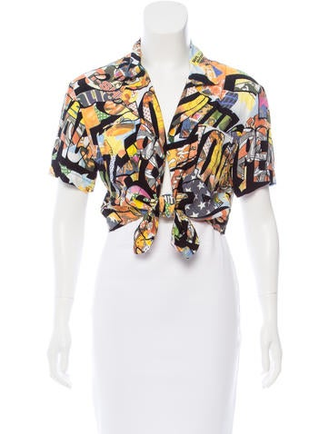 Moschino Printed Cropped Top None