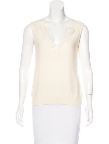 Moschino Lace-Trimmed Virgin Wool Top None