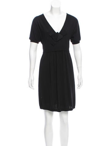 Moschino V-Neck Wool Dress None