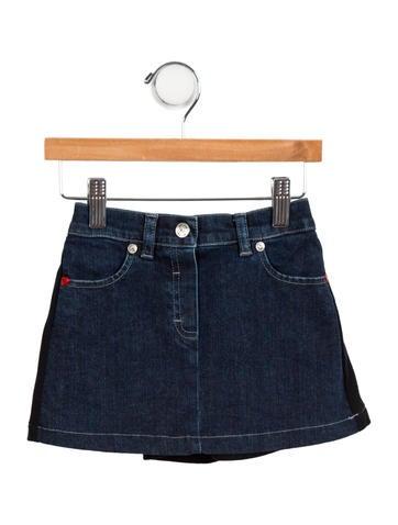 Moschino Girls' Denim Two-Tone Skirt None