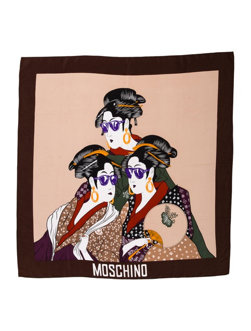 Moschino Silk Printed Scarf Brown