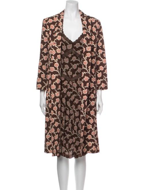 Moschino Floral Print Dress Set Brown