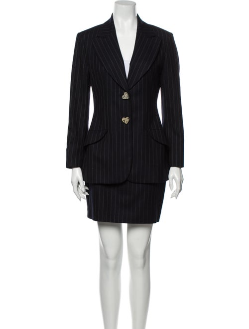 Moschino Wool Striped Skirt Suit Wool