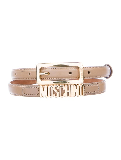 Moschino Leather Skinny Belt gold