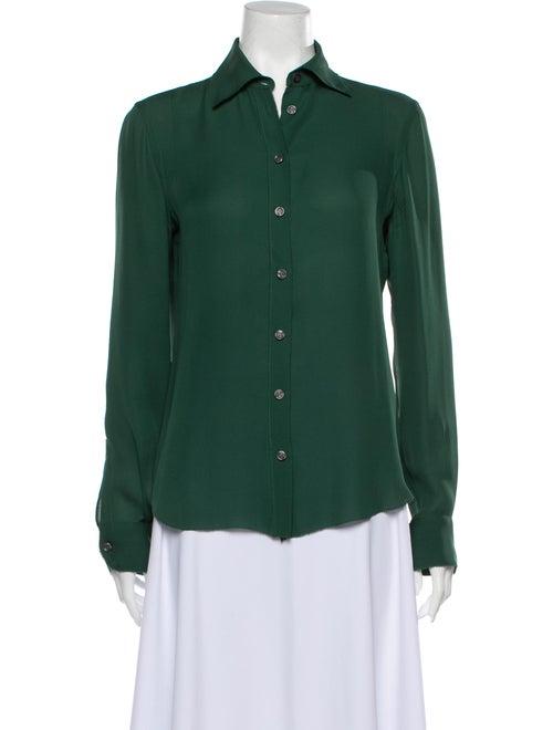 Moschino Silk Long Sleeve Button-Up Top Green