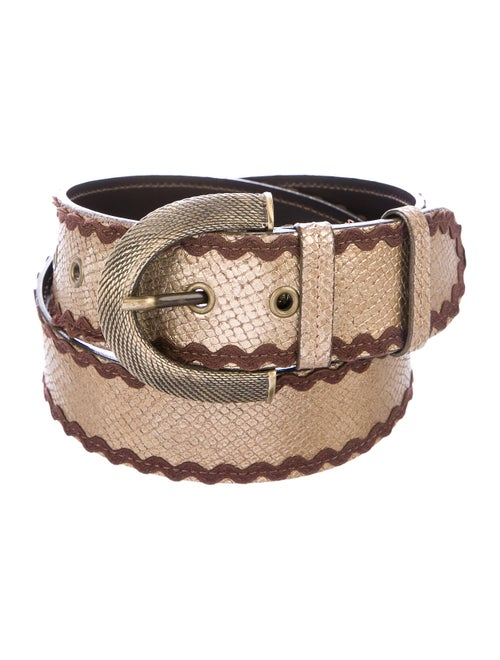 Moschino Embossed Leather Belt Gold