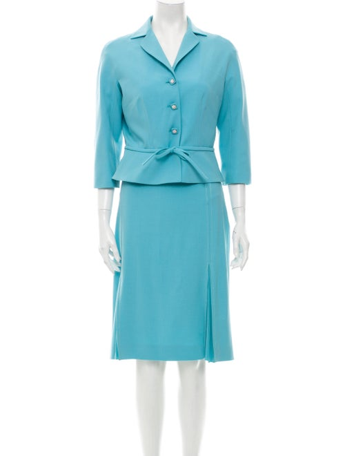 Moschino Wool Pleated Accents Skirt Suit Wool