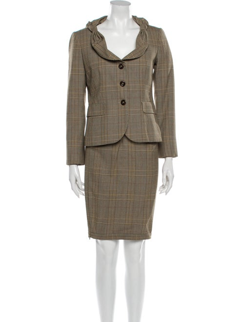 Moschino Plaid Print Skirt Suit Brown