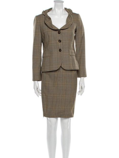 Moschino Plaid Print Skirt Suit Brown