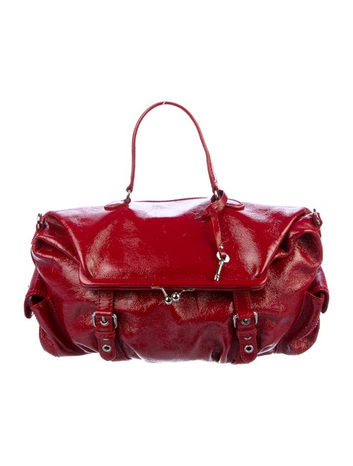 Moschino Patent Leather Satchel Red