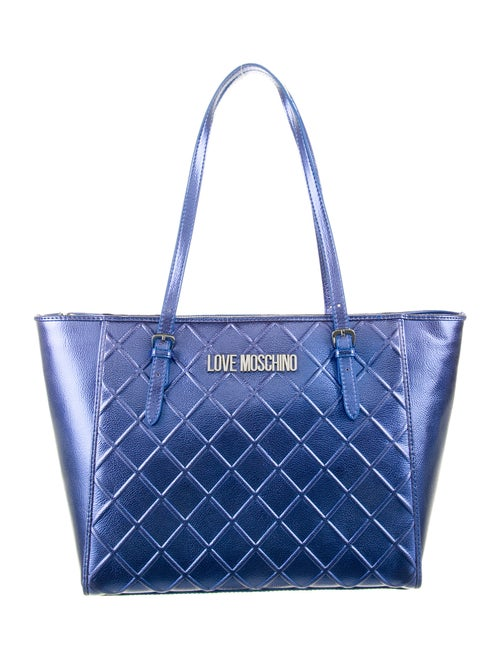 Moschino Metallic Quilted Leather Shoulder Bag Met