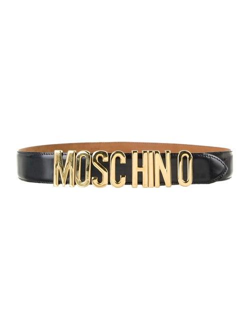 Moschino Leather Logo Belt Black