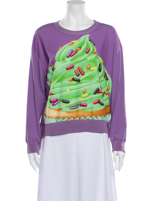 Moschino Graphic Print Crew Neck Sweatshirt Purple