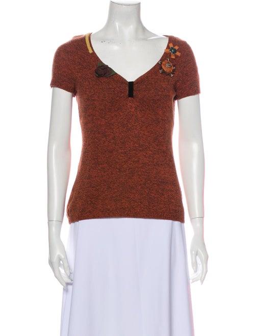 Moschino V-Neck Short Sleeve Top Orange