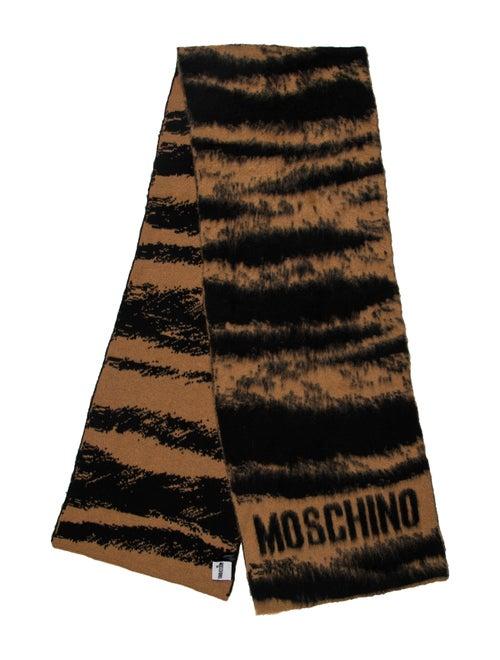 Moschino Mohair Logo Scarf Tan