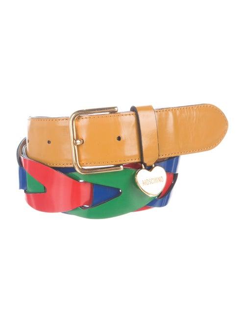 Moschino Leather Waist Belt Yellow