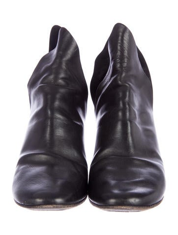Slit Leather Ankle Boots