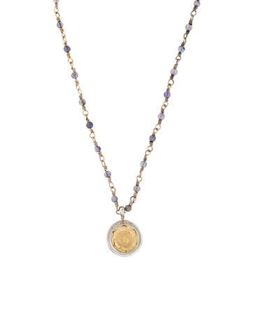 Me&Ro Iolite Om Flower Lotus Pendant Necklace None