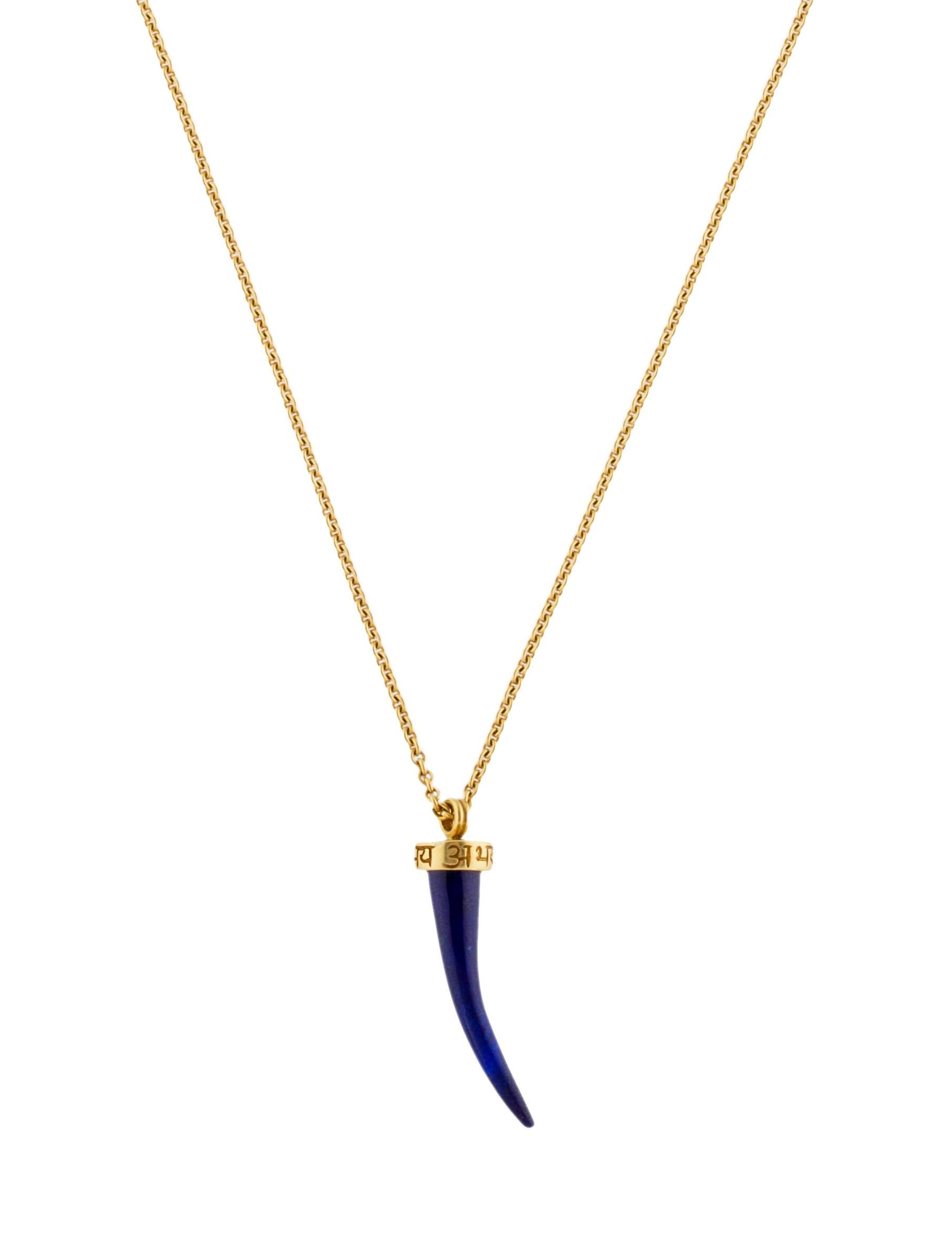 Mero 18k lapis horn pendant necklace necklaces mro21271 the 18k lapis horn pendant necklace aloadofball Gallery