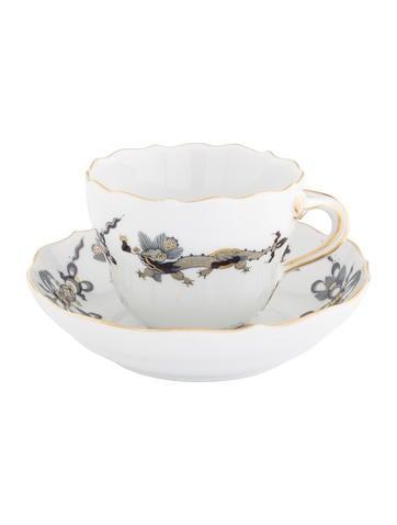 Meissen 2-Piece Opulent Court Dragon Demitasse Cup & Saucer Set None