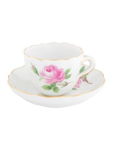 Meissen 2-Piece Roses Demitasse Cup & Saucer Set None