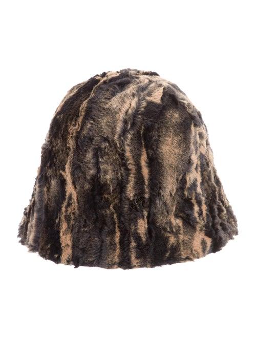 Maison Michel Faux Fur Bucket Hat beige