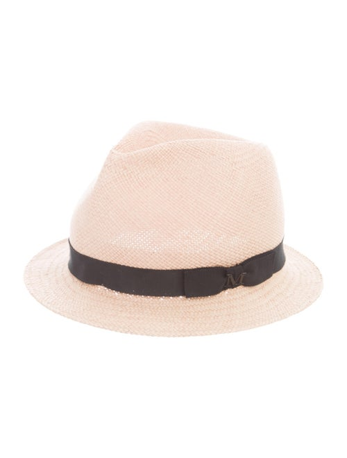 Maison Michel Straw Fedora Hat Tan